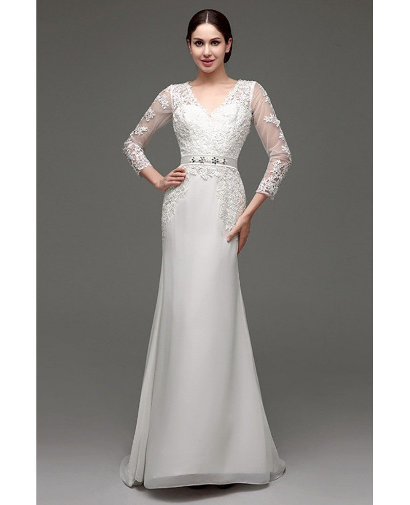 Cheap vintage v neck lace wedding dress fitted with 3 4 for Cheap lace wedding dresses with sleeves