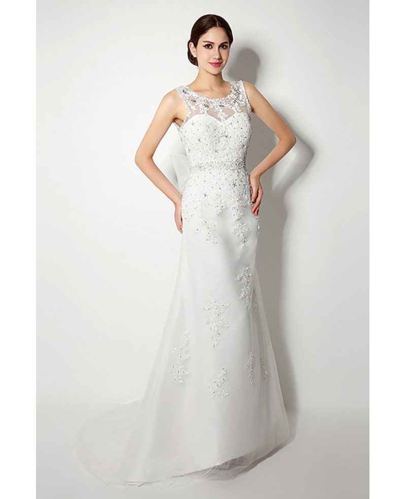 casual tight lace beading wedding dress long with v bow