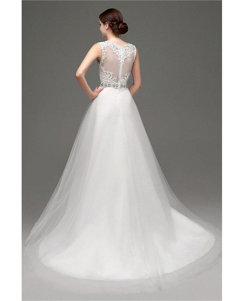 Cheap Elegant Petite Lace Wedding Dress With Sheer Back