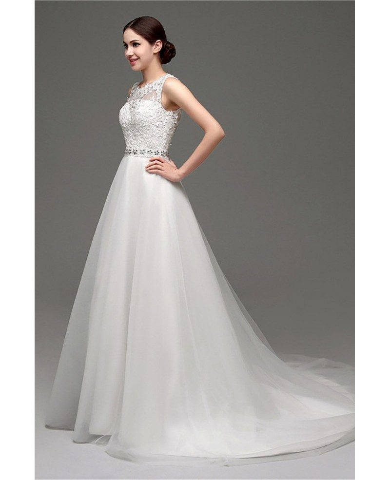 Cheap Elegant Petite Lace Wedding Dress With Sheer Back #H76034 ...