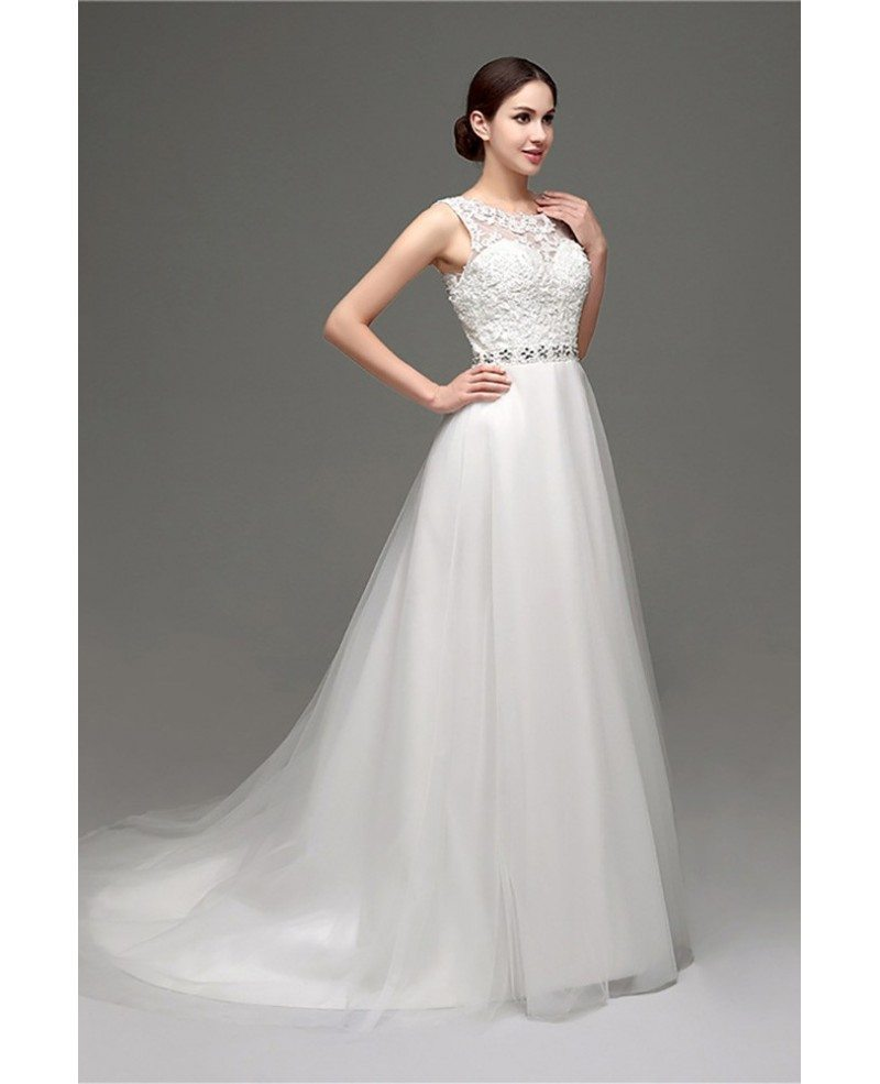 Cheap elegant petite lace wedding dress with sheer back for Petite lace wedding dresses