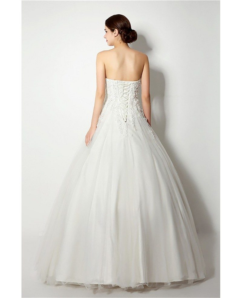 Inexpensive strapless lace ballroom bridal gown for for Ballroom gown wedding dress