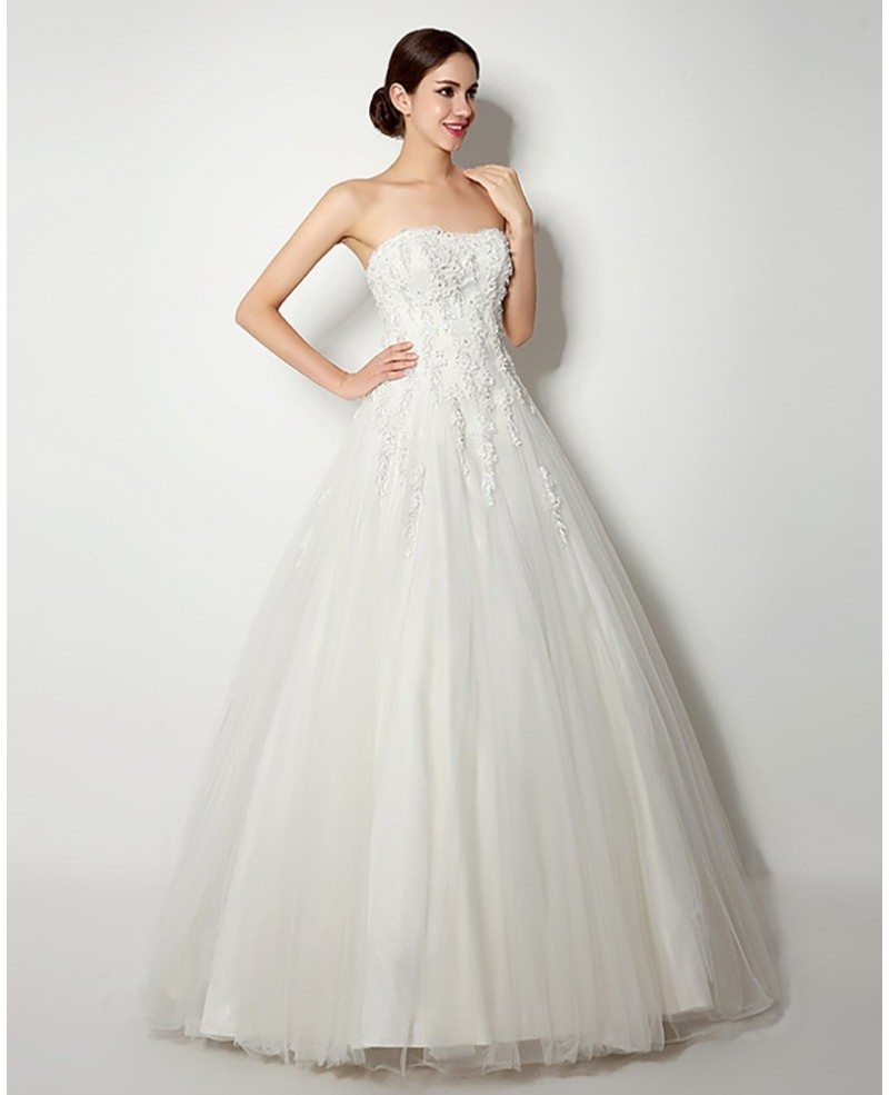 Ballroom Gown Wedding Dresses: Inexpensive Strapless Lace Ballroom Bridal Gown For