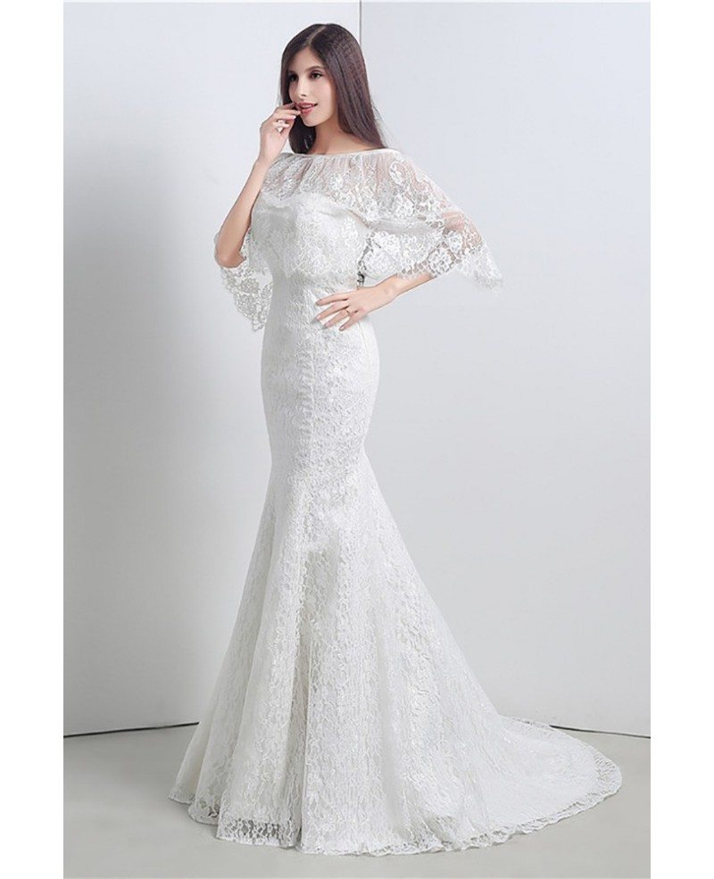 Cheap Trumpet Bodycon Wedding Dress All Lace With Jacket