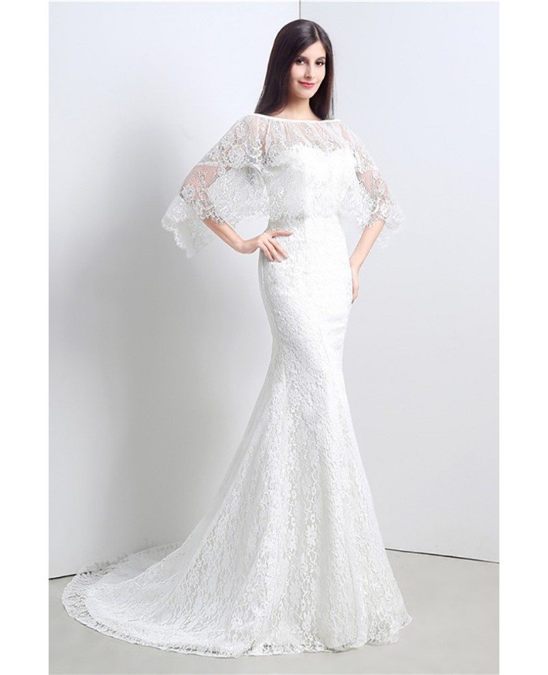 All Lace Wedding Dress: Cheap Trumpet Bodycon Wedding Dress All Lace With Jacket