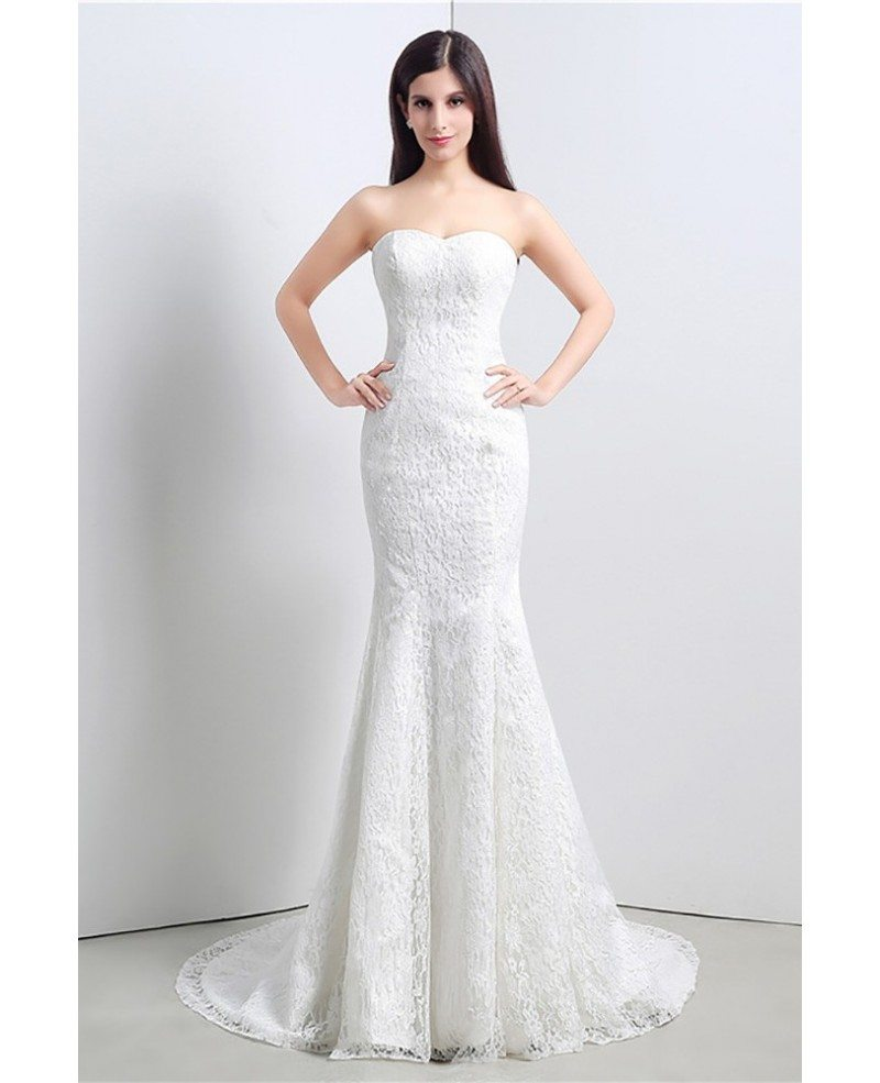 Cheap trumpet bodycon wedding dress all lace with jacket for Discount lace wedding dresses