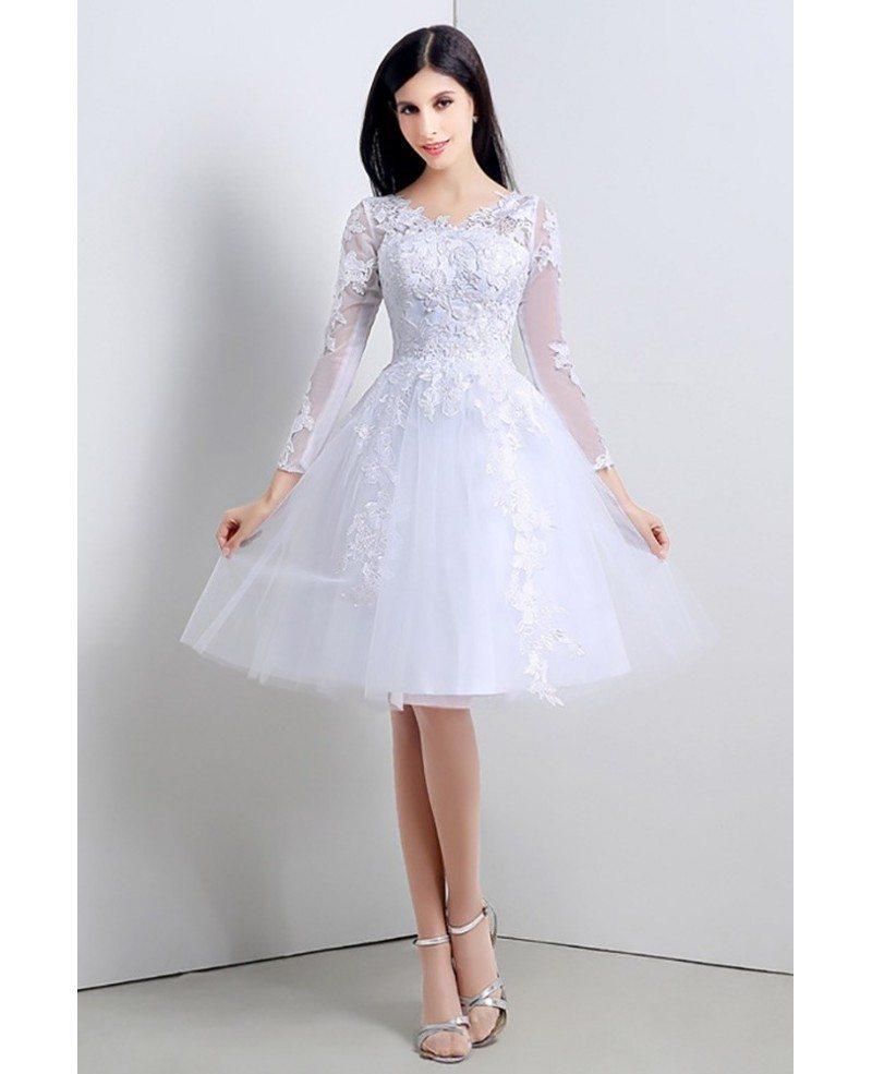 Short Sleeve Simple Wedding Dress: Modest Short Tulle Lace Wedding Dress Long Sleeved For