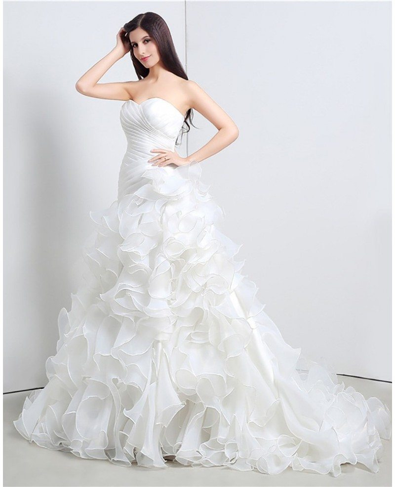 Gorgeous cascading ruffle corset wedding dress strapless for Best bustier for strapless wedding dress
