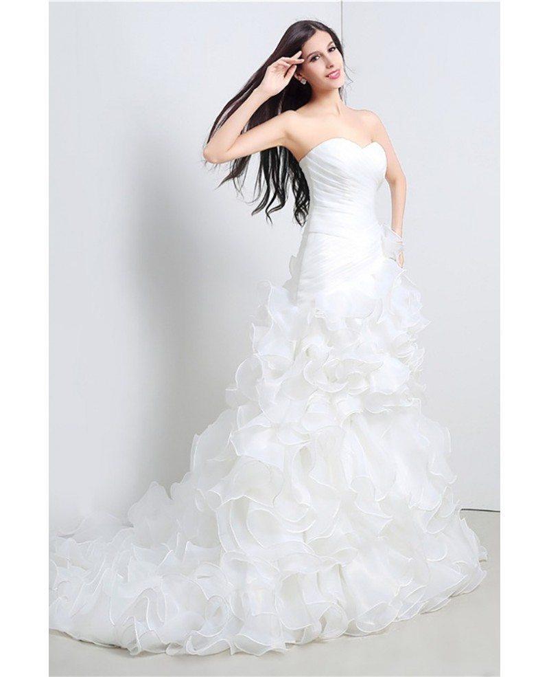 Gorgeous cascading ruffle corset wedding dress strapless for Strapless corsets for under wedding dresses