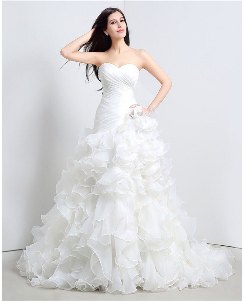 Gorgeous cascading ruffle corset wedding dress strapless for Cascading ruffles wedding dress