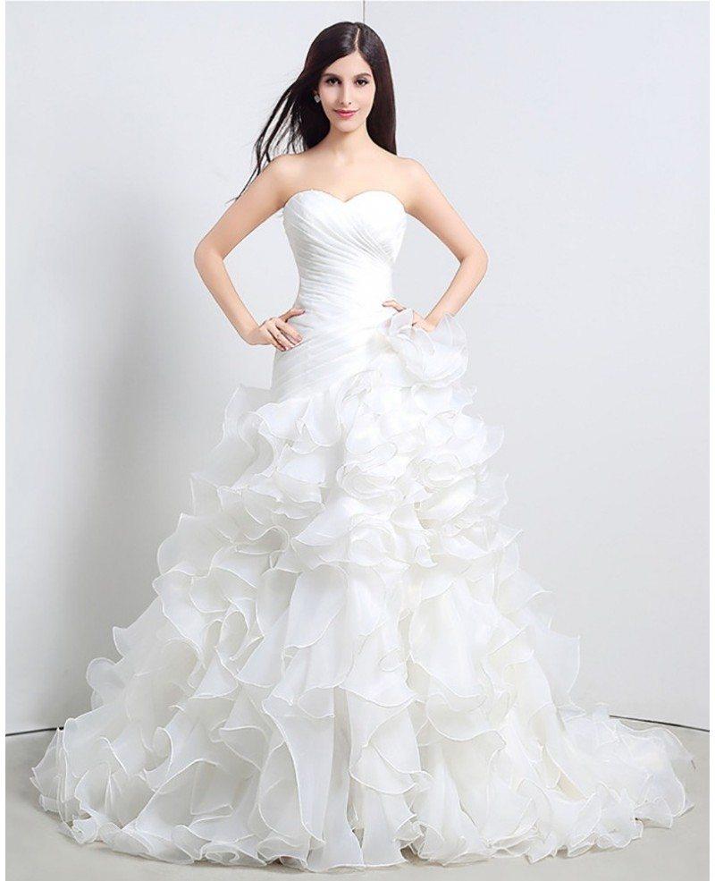 Wedding Gown Bustier: Gorgeous Cascading Ruffle Corset Wedding Dress Strapless
