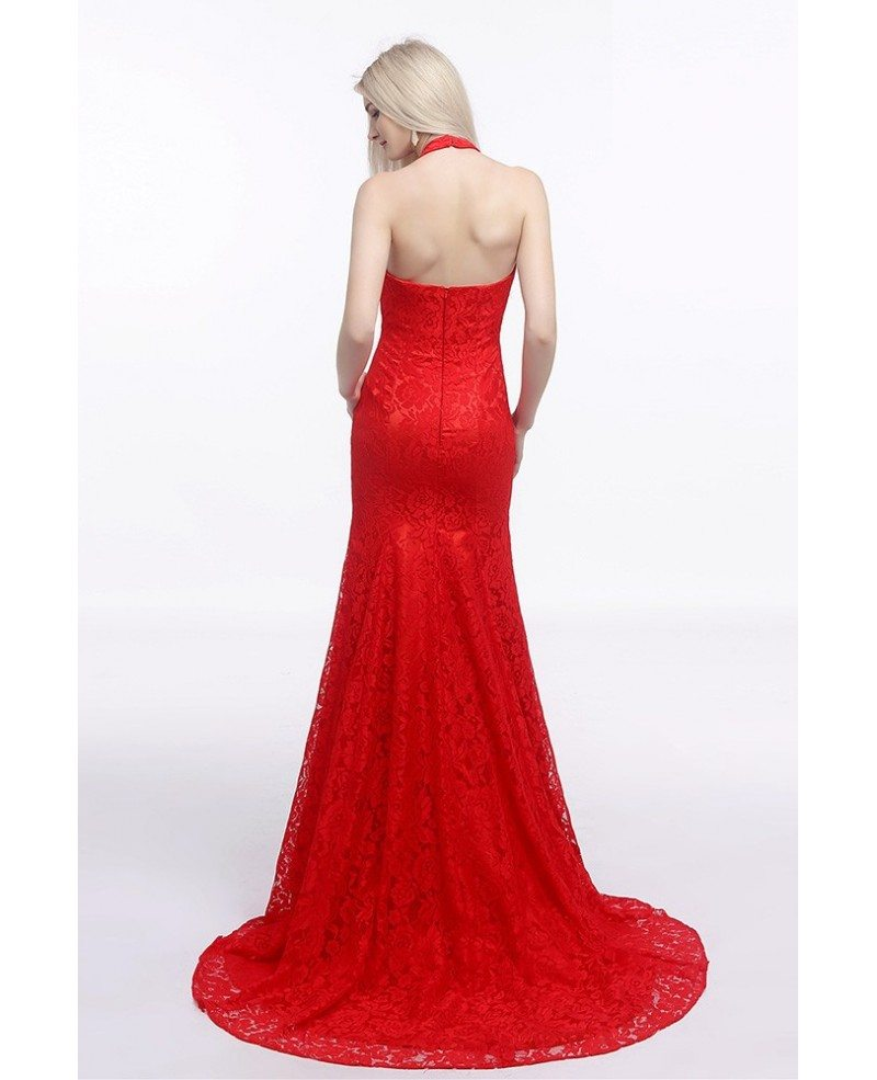 Fit and flare halter red wedding dress backless in all for All lace fit and flare wedding dress