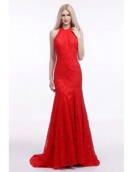 Fit and flare halter red wedding dress backless in all for All red wedding dresses