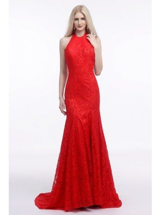 Fit And Flare Halter Red Wedding Dress Backless In All Lace