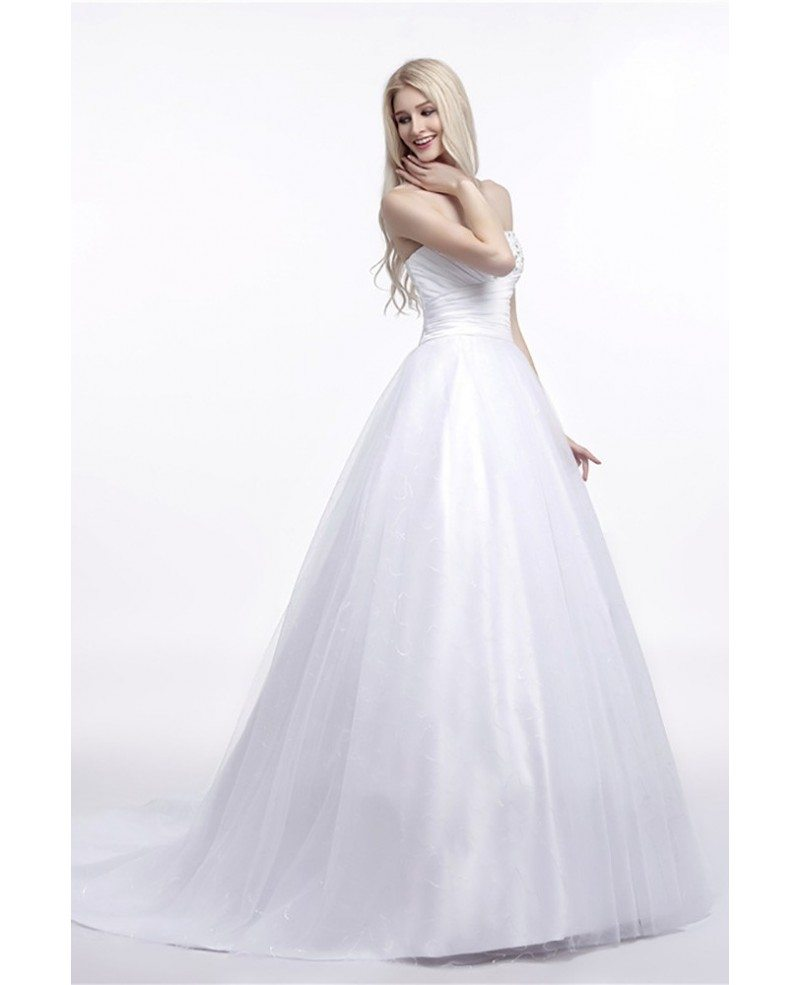 Elegant corset strapless bridal dress ball gown with for Beading for wedding dress