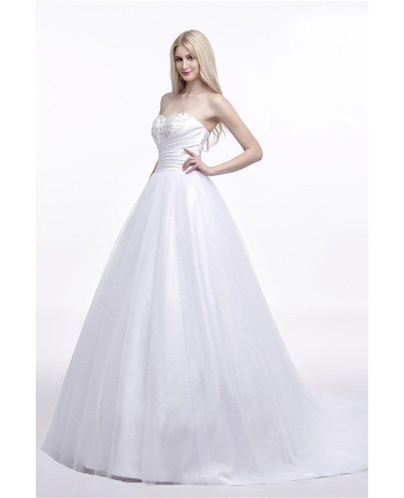 Elegant corset strapless bridal dress ball gown with for Elegant ball gown wedding dresses
