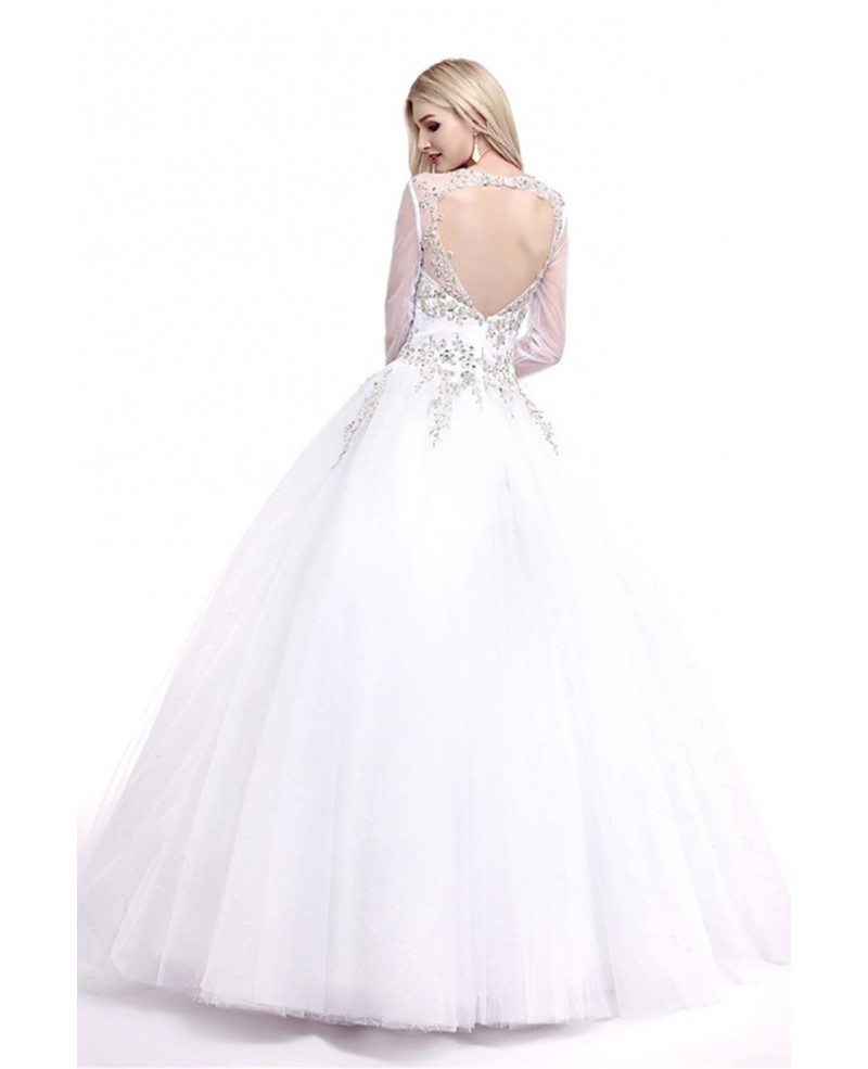 modest style ballroom v neck wedding dress with sleeves
