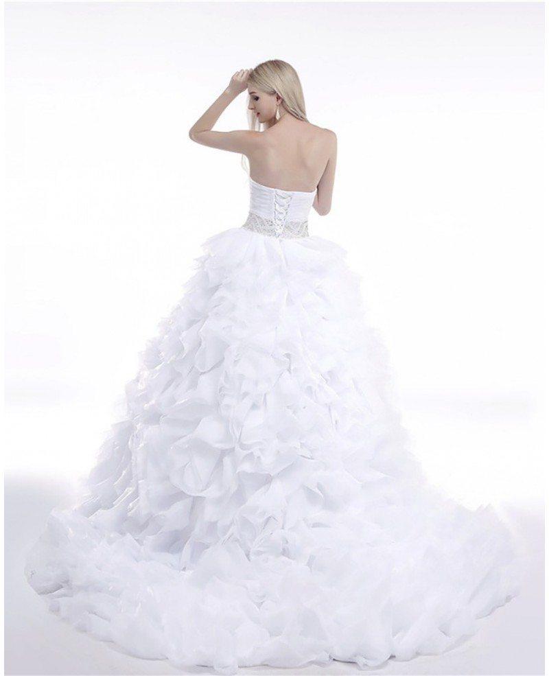Wedding Gowns Cheap: Cheap Ball Gown Wedding Dress Cascading Ruffled For Woman