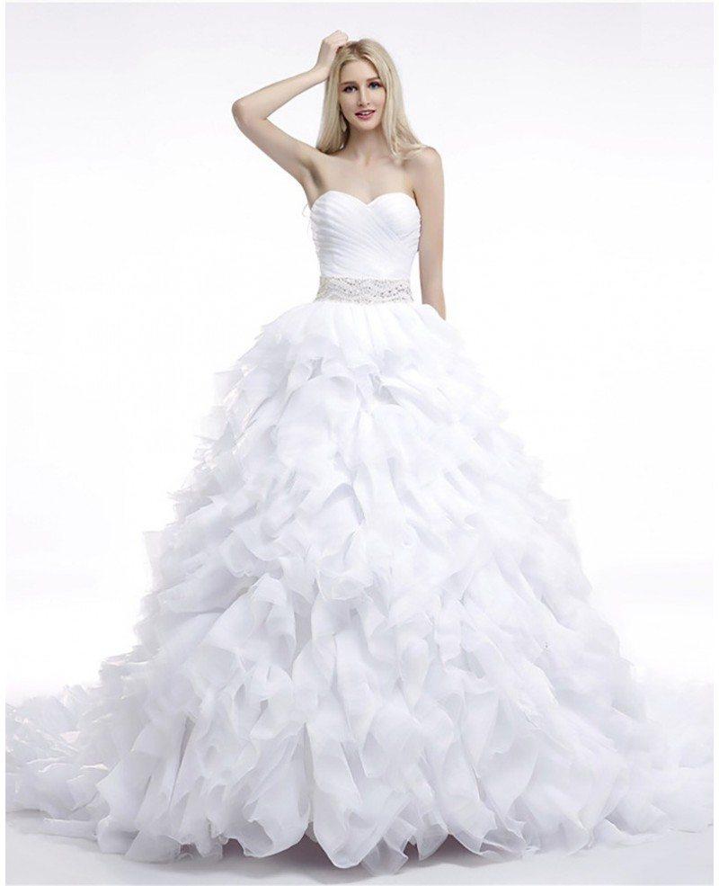 Cheap Ball Gown Wedding Dresses: Cheap Ball Gown Wedding Dress Cascading Ruffled For Woman