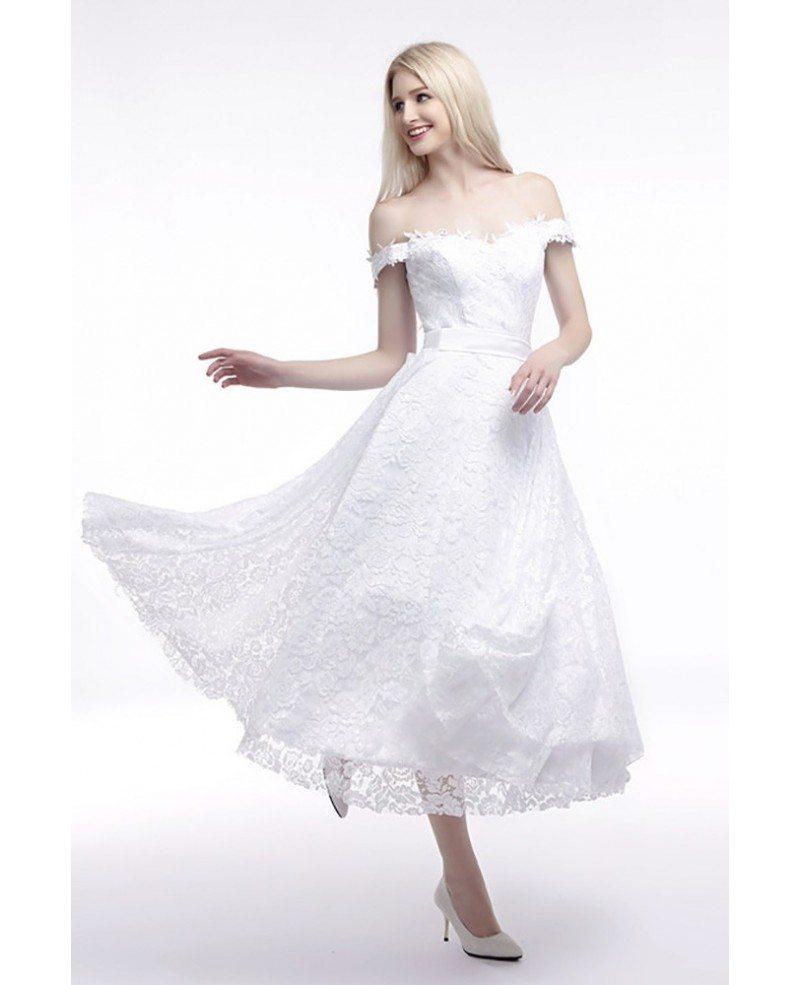 off the shoulder straps wedding dress cheap in all lace