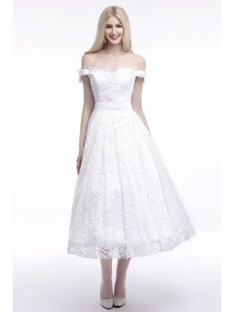 Off The Shoulder Straps Wedding Dress Cheap In All Lace 2018