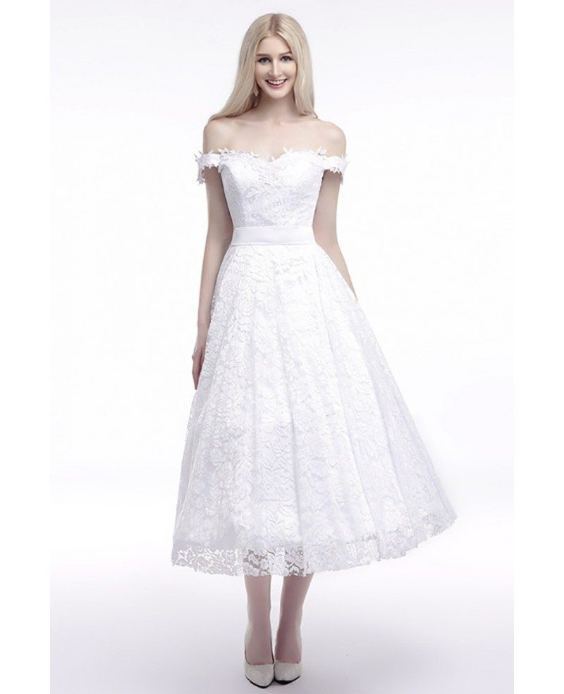 Off the shoulder straps wedding dress cheap in all lace for All lace wedding dress