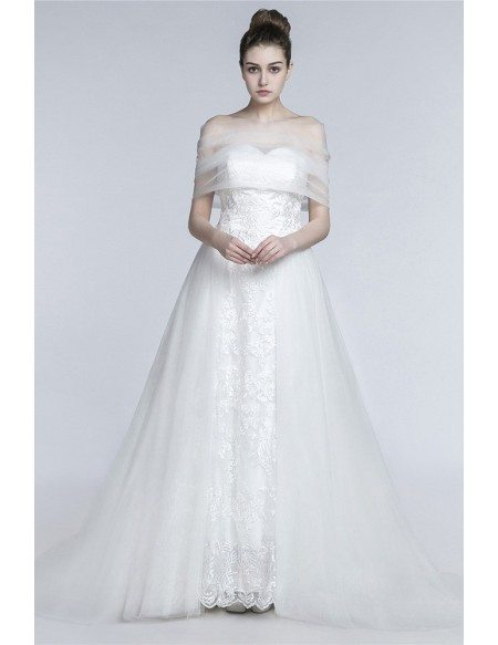 GRACE LOVE Princess Long A Line Wedding Dress Strapless Trained With Tulle  Wrap