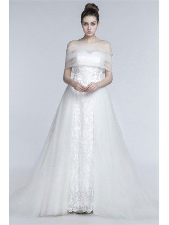 Princess Long A Line Wedding Dress Strapless Trained With Tulle Wrap