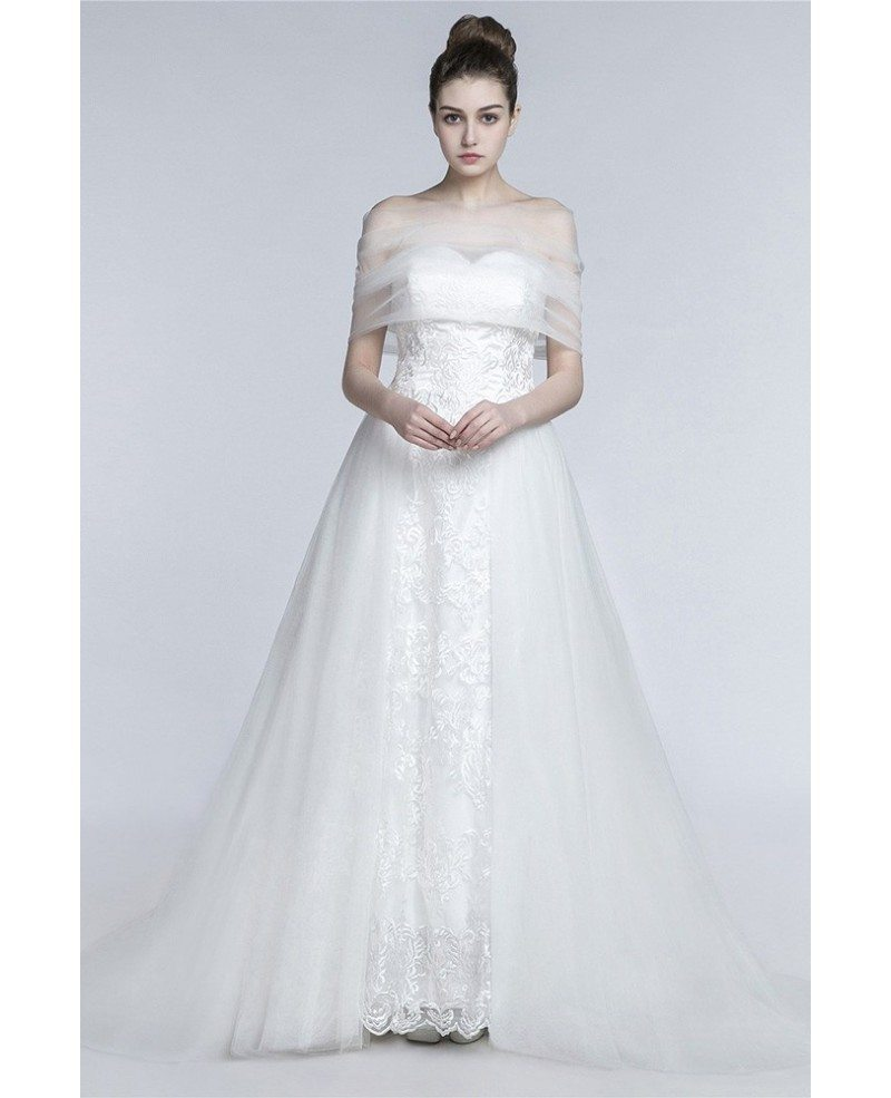 Princess long a line wedding dress strapless trained with for Long strapless wedding dresses