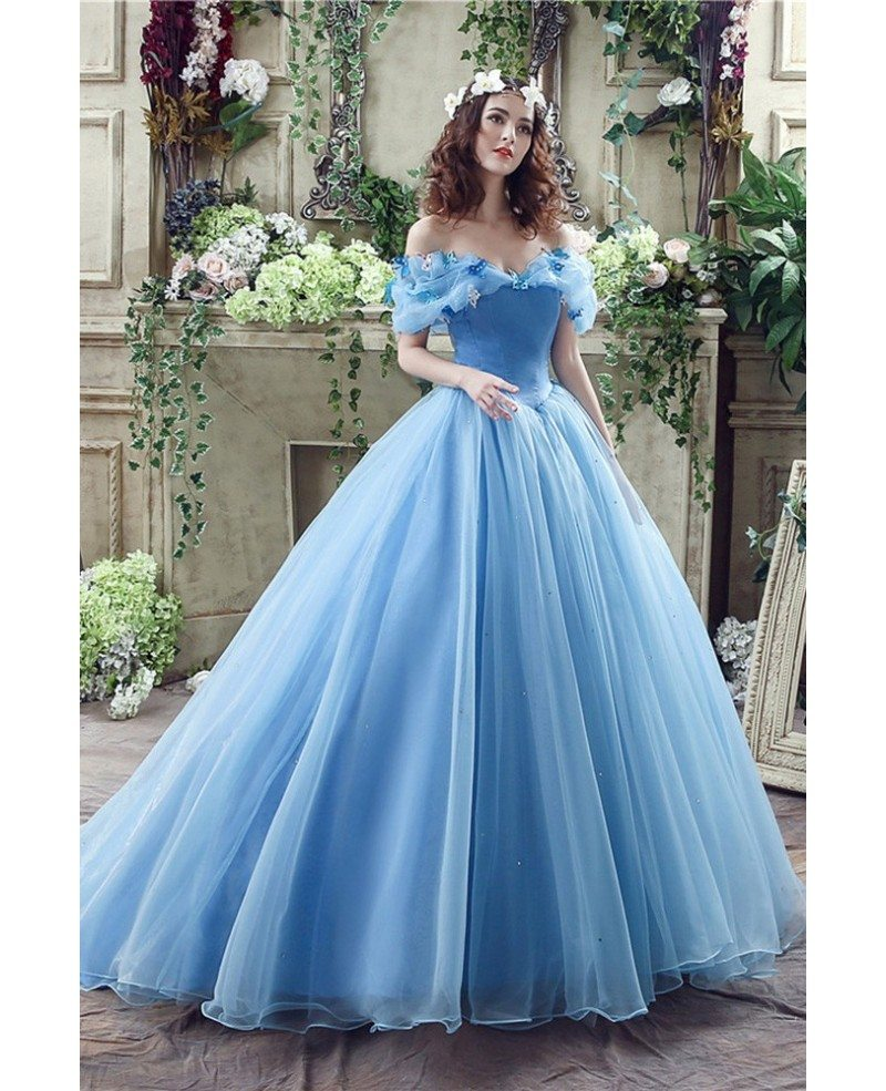 Non Traditional Blue Cinderella Princess Bridal Gowns With Off ...