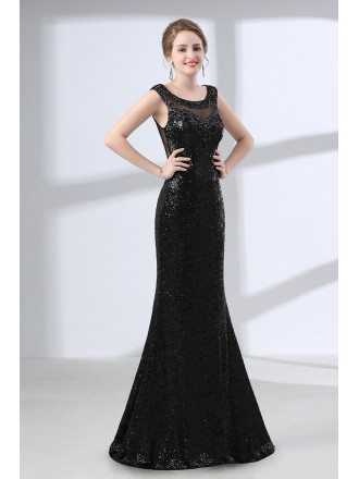 Sparkly Sequined Sexy Slim Prom Dress Black With Sheer Back