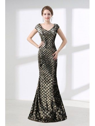 Cheap Black And Gold Mermaid Prom Dress Sparkly Sequined