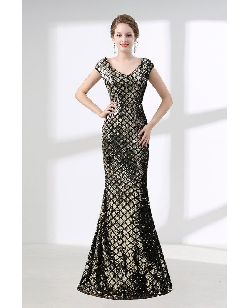 Cheap Black And Gold Mermaid Prom Dress Sparkly Sequined #CH6602 ...