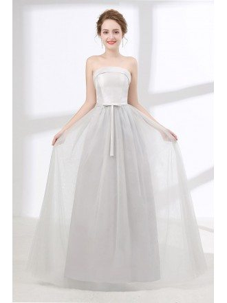 Cheap Long Grey Homecoming Dress For Teens With Sweetheart Neck