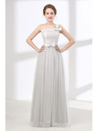 Cheap Junior Dusty Grey Long Prom Dress For Graduation With Bows