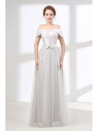 Cheap Off The Shoulder Formal Dress Long In Dusty Grey