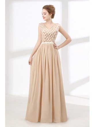 Cheap Champagne Long Prom Dress Sequined For Teens 2018