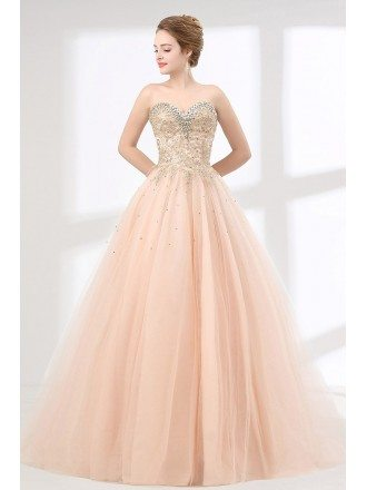 Pink Ball Gown Lace  Quinceanera Dress With Crystal Sweetheart Neckline