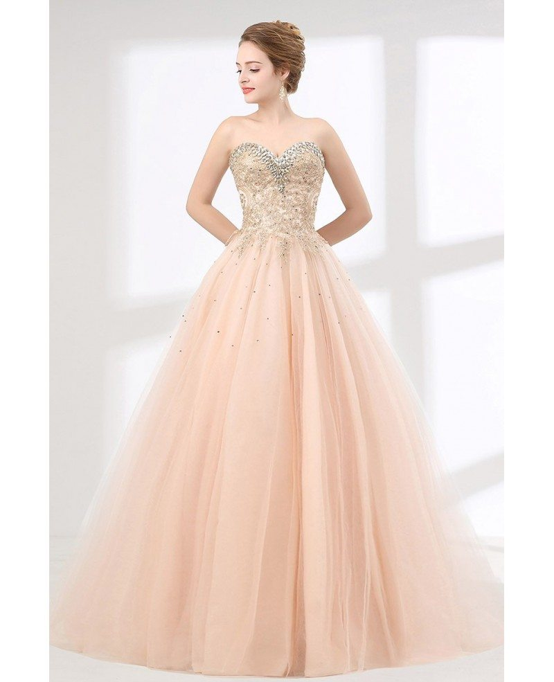 Pink Ball Gown Lace Quinceanera Dress With Crystal Sweetheart ...