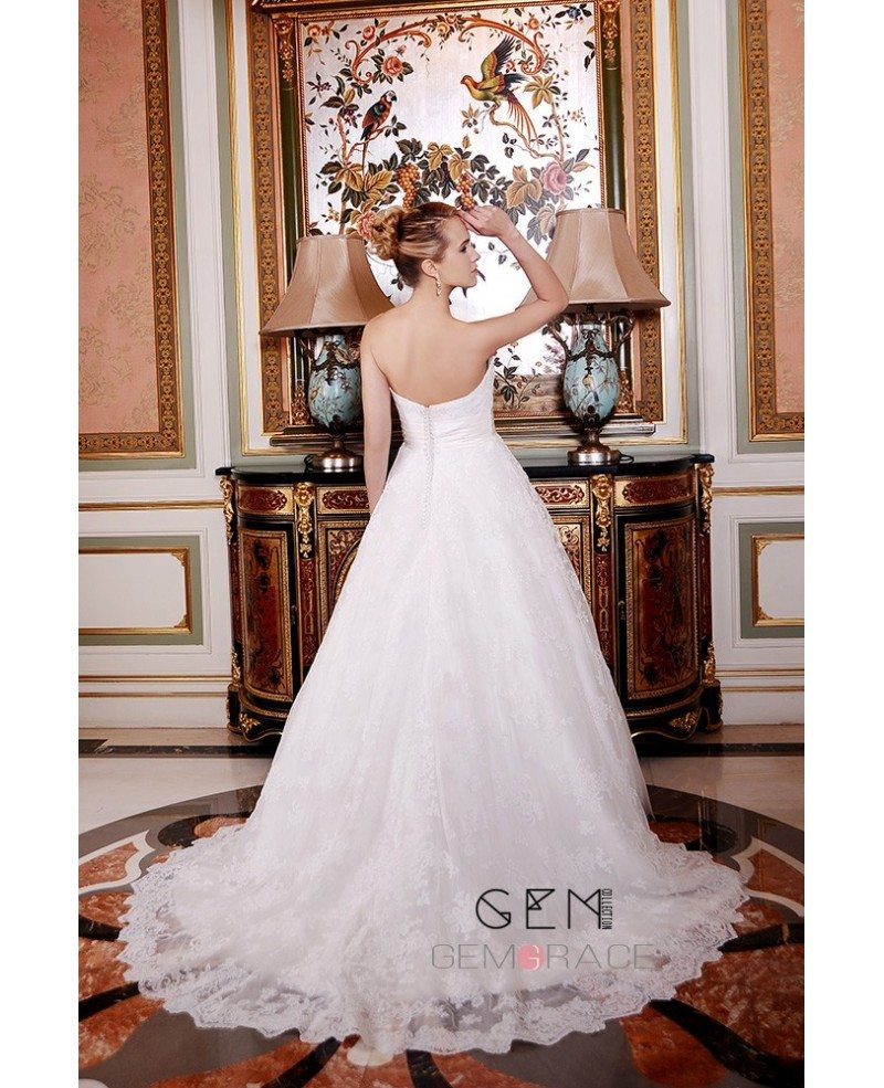 Ball gown sweetheart court train lace tulle wedding dress for Dresses for court wedding
