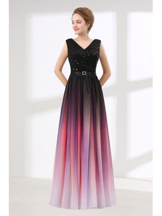 Ombre Flowy Chiffon Prom Dress Long With Shiny Sequin Bodice