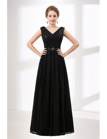 9ee5e1e9538b ... GRACE LOVE Inexpensive Sequined Black Prom Dress Long V Neck 2018