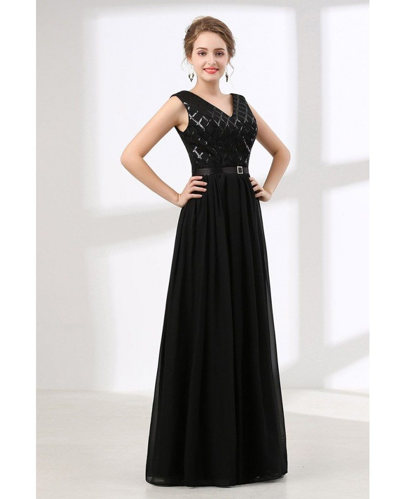 Inexpensive Sequined Black Prom Dress Long V Neck 2018 #CH6615 - GemGrace.com