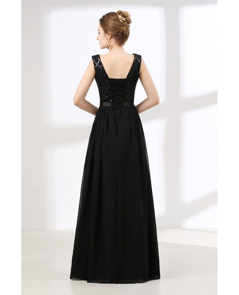Think, Black long sequin prom dress