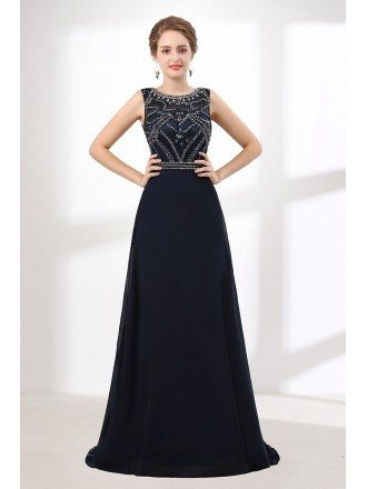 Sleeveness A Line Black Long Prom Dress With Shiny Beading Bodice