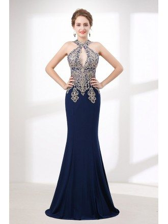 Halter Tight Mermaid Prom Dress Navy Blue With Applique Lace