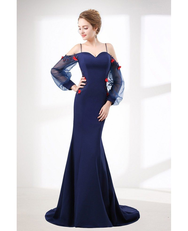 Mermaid Long Navy Blue Evening Dress With Off Shoulder Sleeves ...