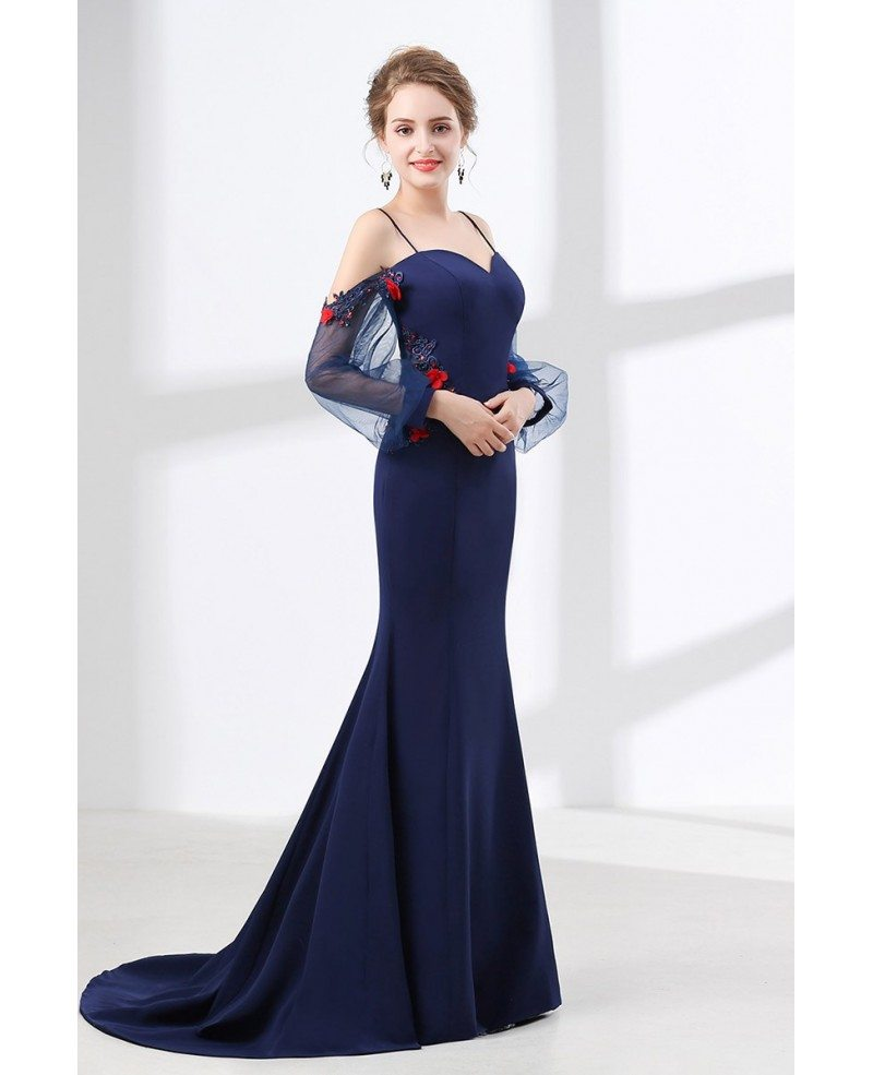 Mermaid Long Navy Blue Evening Dress With Off Shoulder ...