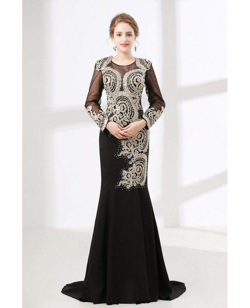 Petite Black Long Sleeved Formal Dress With Applique Lace Bodice ...