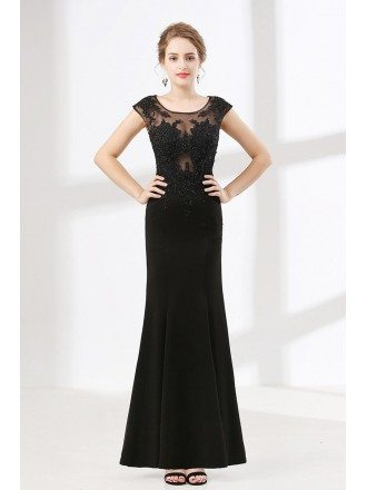 Floor Length Petite Black Formal Dress With Beading Lace Top